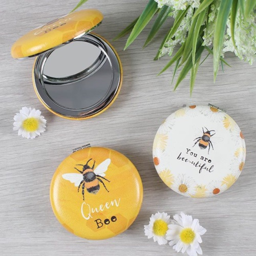 Queen bee mirror, you are beautiful mirror, cute makeup mirror, bee compact