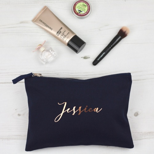 Rose gold and navy personalised pouch, name bag   CeFfi