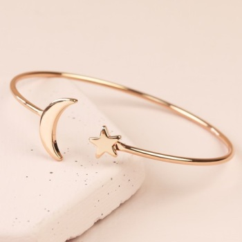 Star and Moon Bangle - Rose Gold