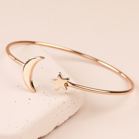 Rose gold star and moon bangle | CeFfi