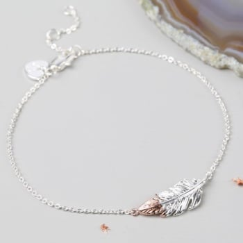Feather Bracelet - Silver/Rose Gold
