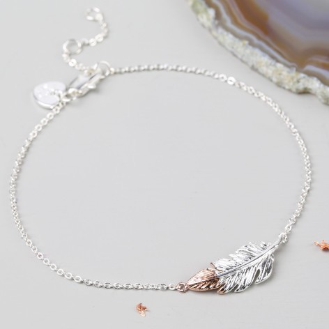 Feather bracelet in silver and rose gold | CeFfi