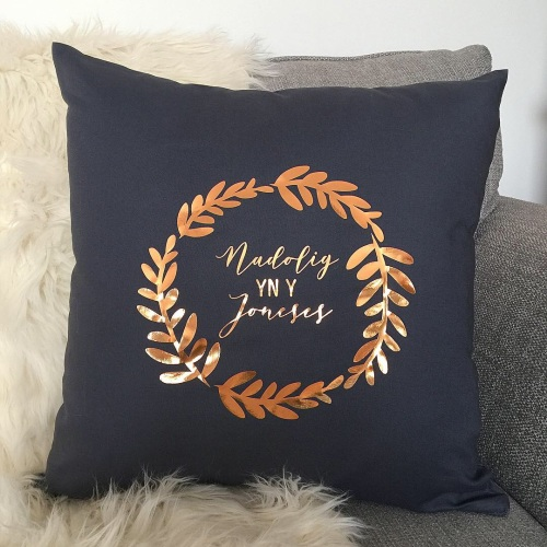 Welsh personalised cushion, personalised Christmas cushion | CeFfi
