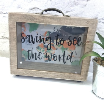 Saving to see the World - Money Box Frame
