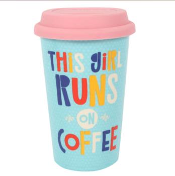 This girl runs on coffee - Travel Mug