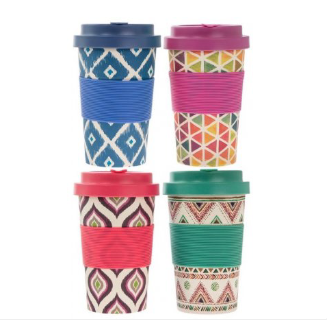 Bamboo travel mug, geometric travel mug, eco friendly travel mug, natural t