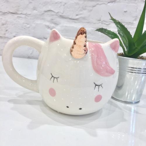 Unicorn mug, unicorn head mug, white and rose gold unicorn mug | CeFfi