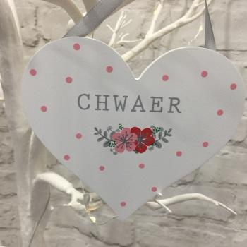 Welsh Heart Decoration - Chwaer