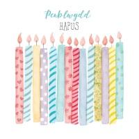 <!--091-->Candles - Penblwydd Hapus - Card