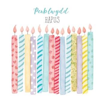 Candles - Penblwydd Hapus - Card