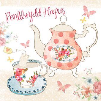 Afternoon Tea - Penblwydd Hapus - Card