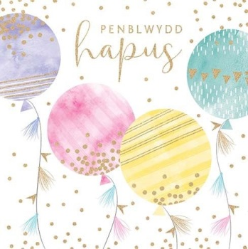 Birthday Balloons - Penblwydd Hapus - Card