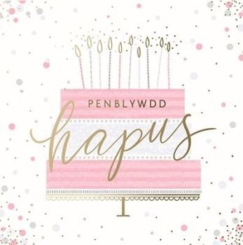 Birthday Cake - Penblwydd Hapus - Card