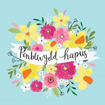 Blue Flowers - Penblwydd Hapus - Card