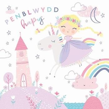 Unicorn - Penblwydd Hapus - Card