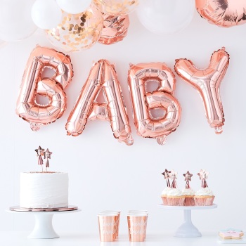 Rose gold BABY - Balloon Bunting