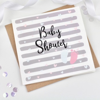 Grey Heart Stripe - Baby Shower
