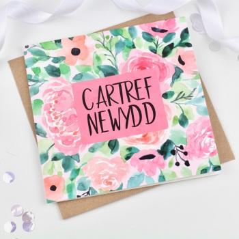 Floral Pop - Cartref Newydd - Card
