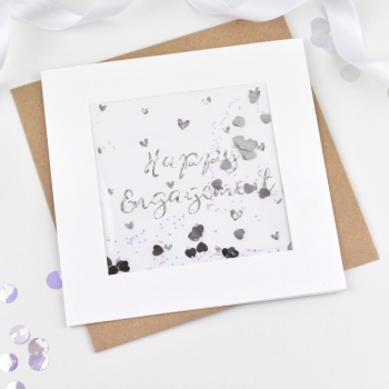 Silver Glitter - Happy Engagement - Card