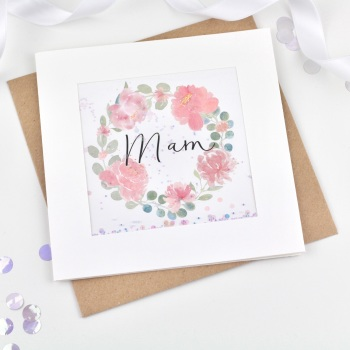 Floral Wreath - Mam - Card