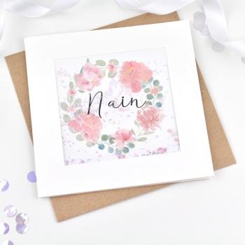 Floral Wreath - Ffrind - Card