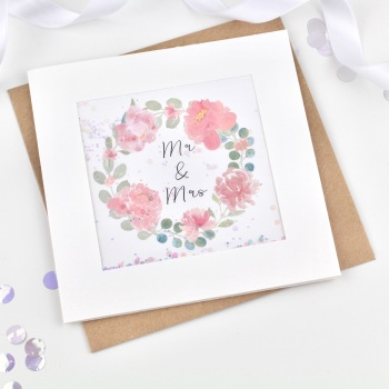 Floral Wreath - Mr & Mrs - Card