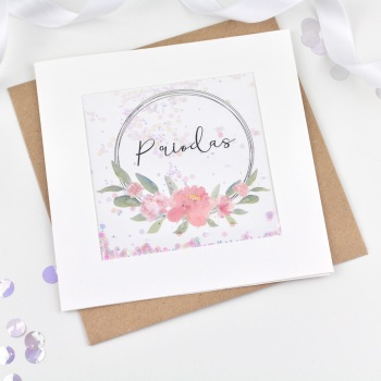 Floral Ring - Priodas - Card