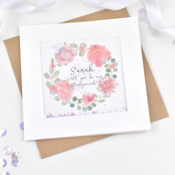Floral Wreath - Personalised Bridesmaid etc - Confetti Card
