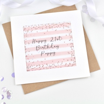 Rose Gold & Pink Stripe - Personalised - Confetti Card