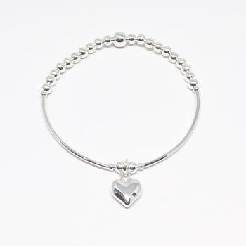 Heart Noodle Bracelet - Silver