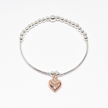 Heart Noodle Bracelet - Rose Gold