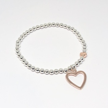 Open Heart Beaded Bracelet - Rose Gold