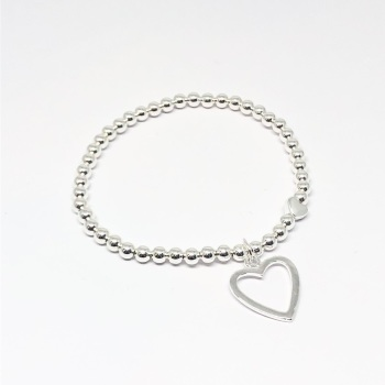 Open Heart Beaded Bracelet - Silver