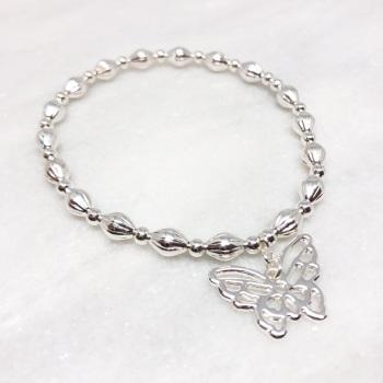 Chunky Butterfly Beaded Bracelet - Silver