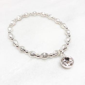 Chunky Sparkle Beaded Bracelet - Silver