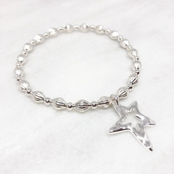Chunky Star Beaded Bracelet - Silver