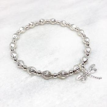 Chunky Dragonfly Beaded Bracelet - Silver