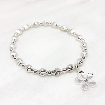 Chunky Flower Beaded Bracelet - Silver