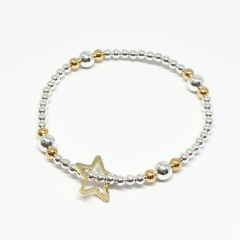 Open Star Beaded Bracelet - Gold