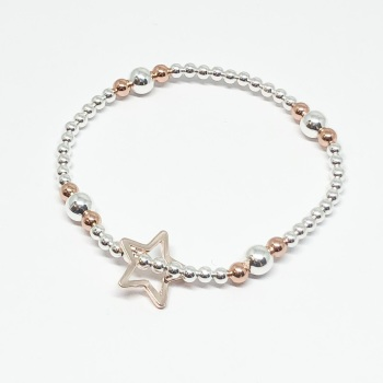 Open Star Beaded Bracelet - Rose Gold