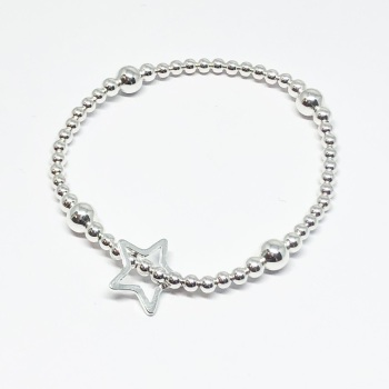 Open Star Beaded Bracelet - Silver