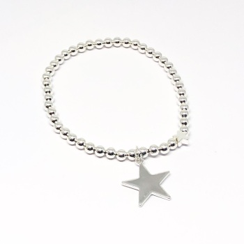 Large Star Beaded Bracelet - Silver