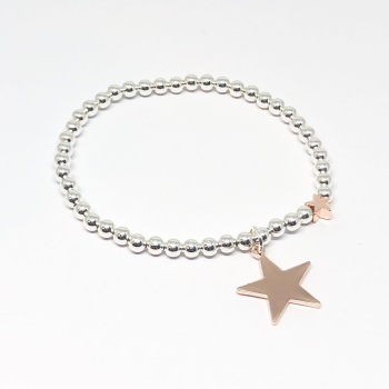 Large Star Beaded Bracelet - Rose Gold