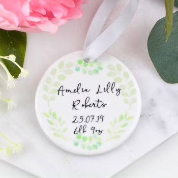 Greenery Circle - Personalised New Baby - Decoration