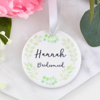 Greenery Circle - Personalised Bridesmaid etc - Decoration