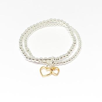 Double Heart Bracelet - Gold