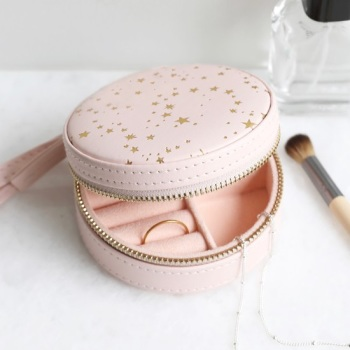 Pink & Gold Stars - Round Jewellery Case