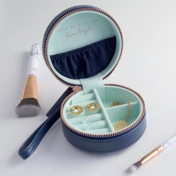 Navy - Round Jewellery Case