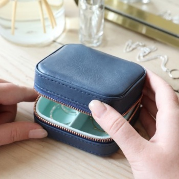 Navy - Square Jewellery Case