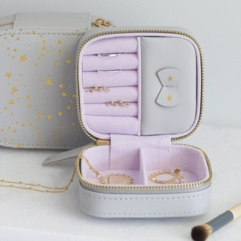 Grey & Gold Stars - Square Jewellery Case